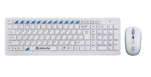 Набор беспроводной (клавиатура+мышь) Defender Skyline 895 Nano (white-blue)