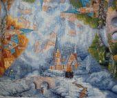 """Схема для вышивки крестом """"Часовня в горах"""". Отшив."""