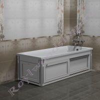 """Экран для ванны """"Руссильон PROVENCE раздвижной белый с серебряной патиной"""