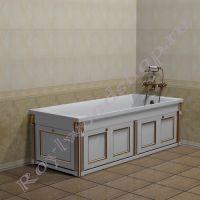 """Экран для ванны """"Руссильон PROVENCE складной, белое золото"""" в закрытом виде"""