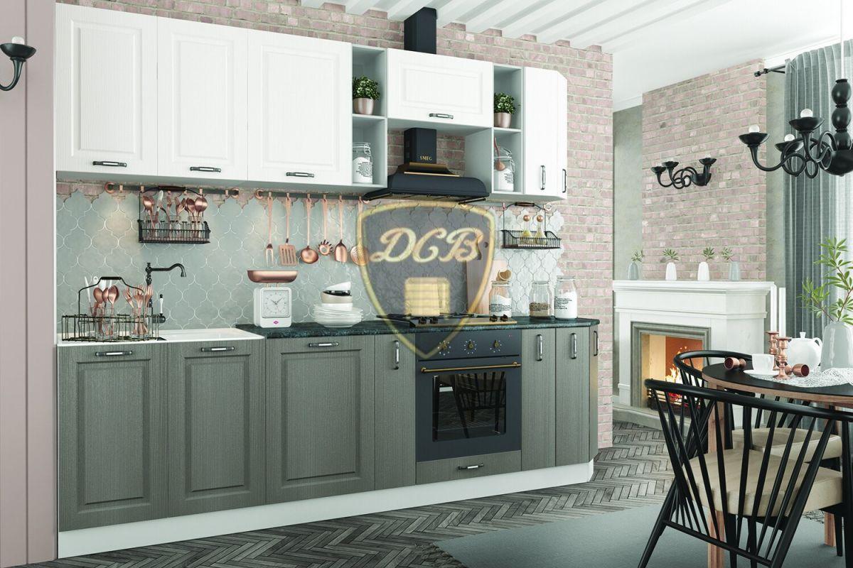 Кухонный гарнитур Капри 2700 Липа белый / Липа пепел