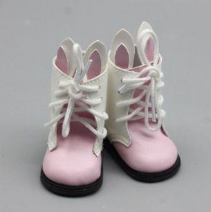 Обувь для куклы 6,5 см - сапожки с ушками на шнурках светло-розовые