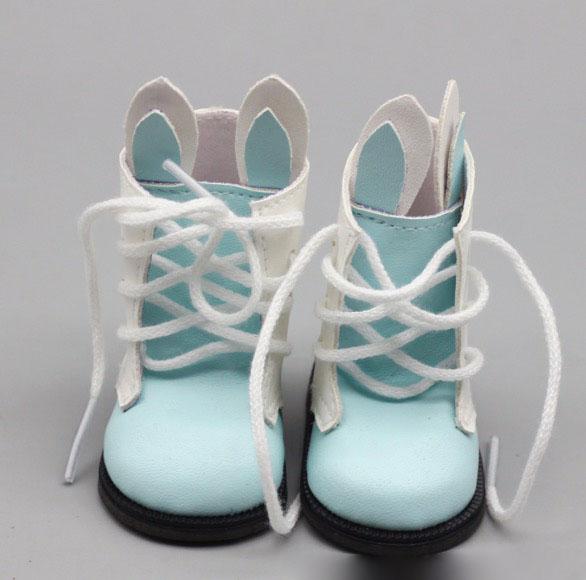 Обувь для куклы 6,5 см - сапожки с ушками на шнурках голубые