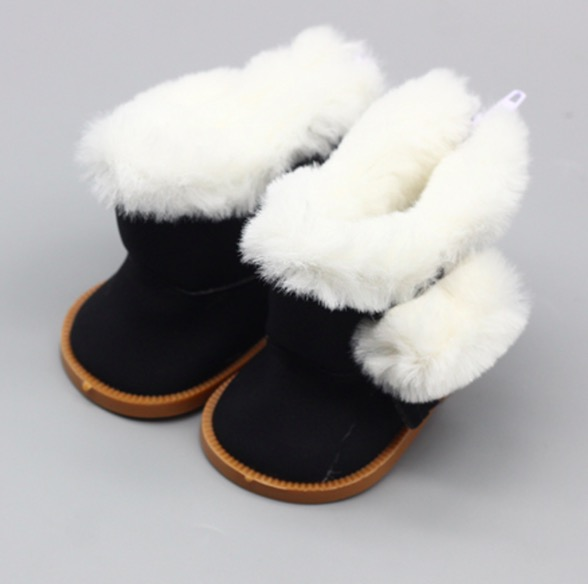 Обувь для кукол сапожки на замочке с мехом 7,5 см - черные