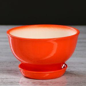 """Цветочный горшок """"Фиалка"""" 0,6 л, глазурь, оранжевый 4911564"""