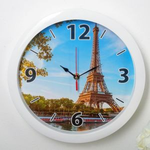 """Часы настенные, серия: Город, """"Эйфелева башня"""", белый обод, 28х28 см, микс 3800742"""
