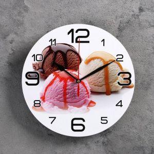"""Часы настенные круглые """"Мороженое"""", 24 см  микс 3571466"""