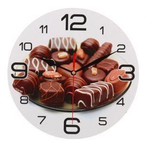 """Часы настенные круглые """"Шоколадные конфеты"""", 24 см  микс 3571469"""