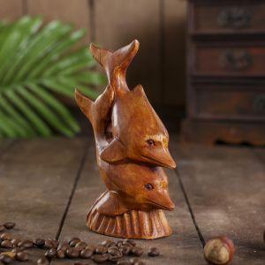 """Сувенир дерево """"Пара дельфинов"""" 4,5х9х13 см   4165786"""