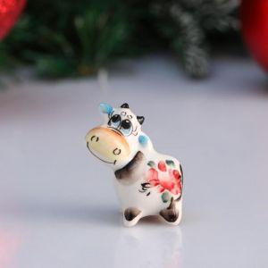 """Сувенир корова """"Боня"""", 4,7 см, цветная гжель 4950584"""