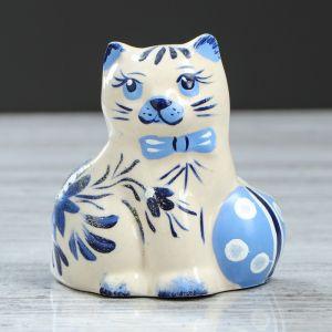 """Статуэтка """"Кот с мячом"""", роспись, 10 см, керамика"""