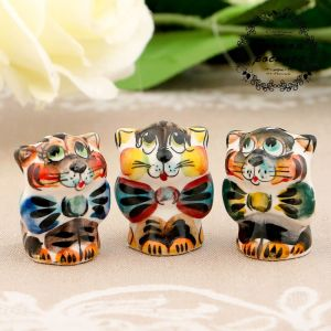 Сувенир «Кот с бантом», 3 см, цвет, гжель 3530960