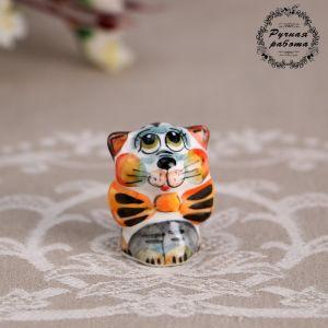 Сувенир «Кот с бантом», 3,5 см, гжель , цвет 5018624