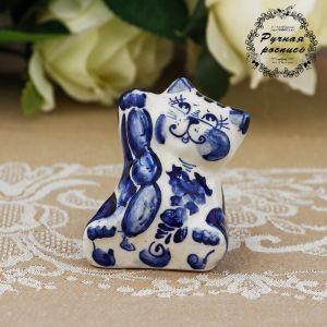 Сувенир «Кот с сосиской», 6 см, гжель 692765