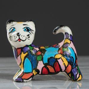 """Сувенир керамика """"Кошка мозаика"""" 10,5 см, микс"""