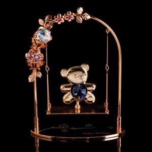 """Сувенир с кристаллами Сваровски """"Мишка на качелях"""" 13,2х10,5 см   4266130"""