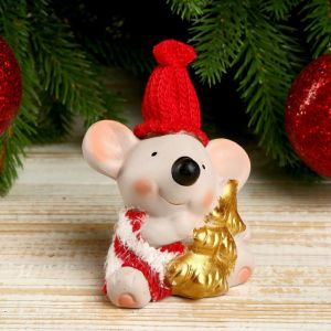 """Сувенир керамика """"Мышонок в полосатом свитере с ёлочкой"""" 8,5х5,2х7 см   4169292"""
