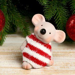 """Сувенир керамика """"Мышонок в полосатом свитере с монеткой на счастье"""" 8,2х5х6,5 см   4169290"""