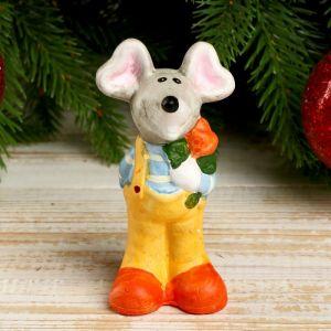 "Сувенир керамика ""Нарядный мышь с розой"" 10,2х4,5х3,7 см   4175063"