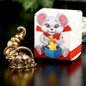 """Сувенир металл """"Мышка Счастья, богатства"""", золото, в коробке 2,8х3,7 см   4407339"""