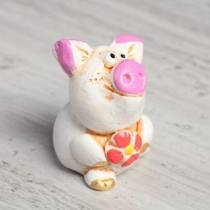 "Статуэтка ""Свинка с цветком"", 6 см"