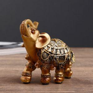 """Сувенир полистоун """"Индийский слон с резной попоной с зеркалами"""" 10х9,5х4 см   4439239"""