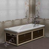 """Экран для ванны """"Лестер складной, береза/орех"""" 170 см / 150 см с торцевой дверкой"""