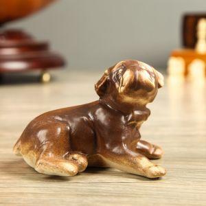 "Статуэтка ""Собака Бульдог"", под шамот, 9 см, керамика"