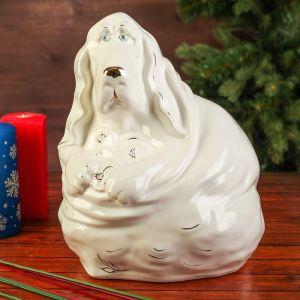 """Сувенир """"Собака Бассет Хаунд"""", 26 см, глянец, белый, керамика"""