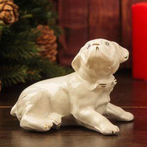 """Сувенир """"Собака Бульдог"""" 9 см, белый, керамика"""