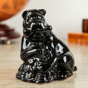 "Сувенир ""Собака на монетах"" чёрный, 20 см, керамика"