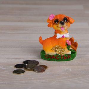 "Сувенир полистоун ""Собака на полянке с цветами и монетками"" МИКС 9х7х5 см 2325433"