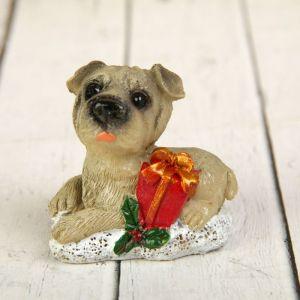 """Сувенир полистоун """"Собака с новогодней атрибутикой"""" МИКС 5,2х5,7х4 см 2296149"""