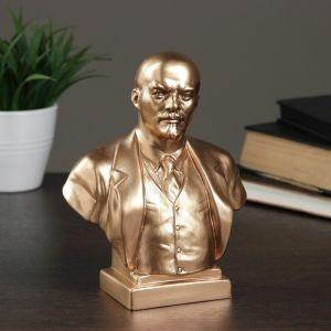 Бюст Ленин большой бронза,золото, 8х14х18 см 1079124