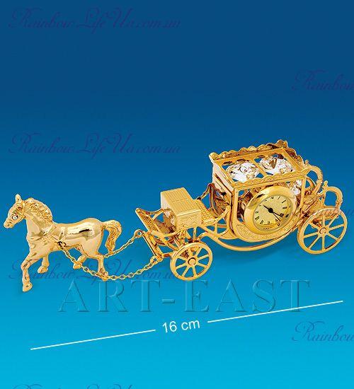 "Часы - фигурка Карета с лошадью с камнями ""Swarovski"""