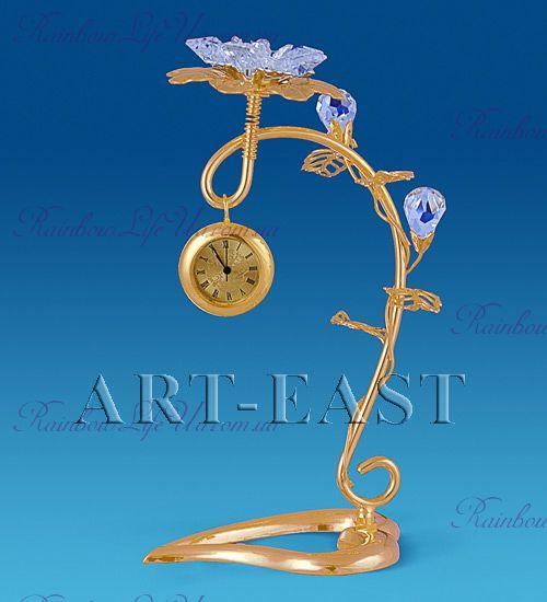 "Часы - фигурка Цветок с камнями ""Swarovski"""
