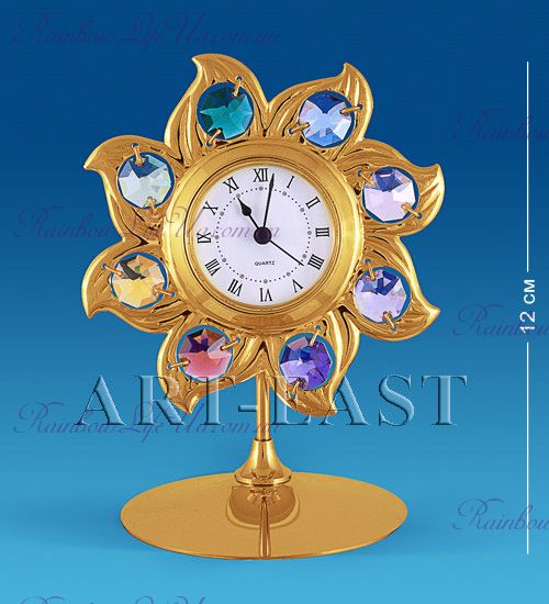 "Часы - фигурка Солнце с камнями ""Swarovski"""