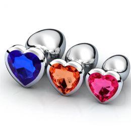 Анальная пробка металл, камень сердце, размер M