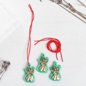 Набор талисманов на крас.нити «Ангел-хранитель» 3 шт., зеленый, золото, 1,6 х 2,5 см