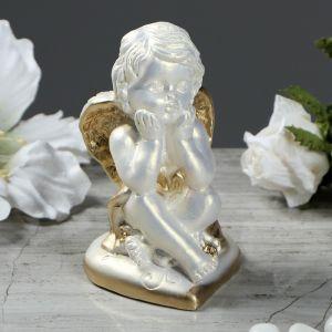 """Статуэтка """"Ангел на сердечке 2"""" перламутровая, с золотом, 9,5 см"""