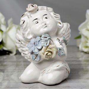 """Статуэтка """"Ангел с цветами"""", лепка, 12 см, микс  3865368"""