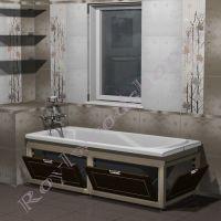 """Экран для ванны """"Лестер откидной, береза/орех"""" 170/150 см с торцевой/ без торцевой дверки"""
