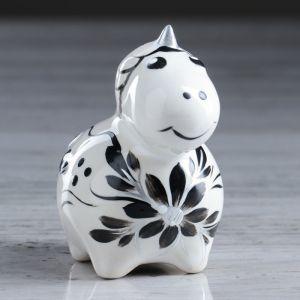 """Статуэтка """"Единорог"""", черно-белая, 7 см, керамика"""