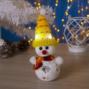 "Игрушка световая ""Снеговик в желтой шапочке"" (батарейки в комплекте) 6х17 см, 1 LED RGB 1077488"