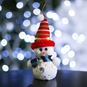 """Игрушка световая """"Снеговик в красной в шапочке"""", 6х17 см, 1 LED, КРАСНЫЙ 603009"""