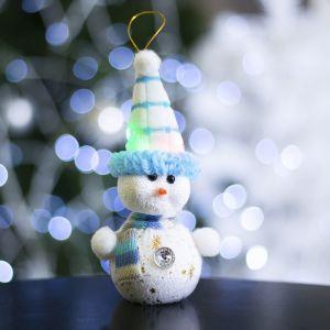 "Игрушка световая ""Снеговик в синей шапочке"" (батарейки в комплекте), 6х17 см, 1 LED, СИНИЙ 603010"