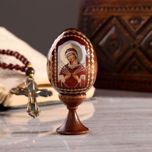 """Сувенир Яйцо на подставке икона """"Божья Матерь Семистрельная"""""""