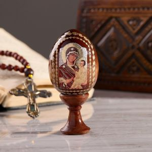 """Сувенир Яйцо на подставке икона """"Божья Матерь Тихвинская"""""""