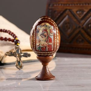 """Сувенир Яйцо на подставке икона """"Божья Матерь Достойно есть"""""""