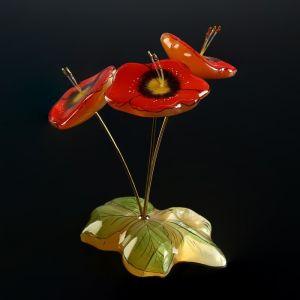 Сувенир «Букет большой Маки»,с росписью, 3 цветка,14x9 см, селенит 4856856
